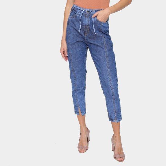 Calça Jeans Just Denim Mom Cintura Alta Feminina - Azul