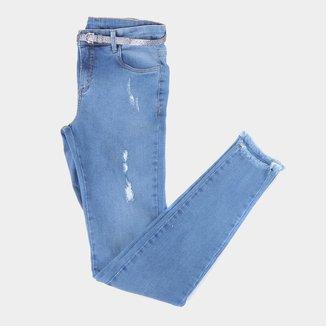 Calça Jeans Juvenil Malwee Skinny Desfiada Feminina