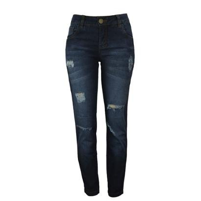 Calça Jeans Knt Cigarrete Com Rasgos-Feminino
