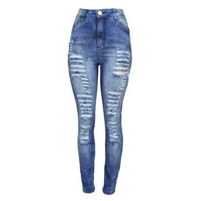 Calça Jeans Kntskinny Rasgada Cintura Alta Feminina-Feminino