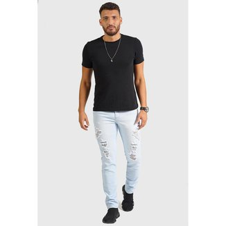Calça Jeans Ks Casual&Sport Destroyed Rasgada Fashion Masculina
