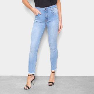 Calça Jeans Lança Perfume Skinny Barra Desfiada Feminina