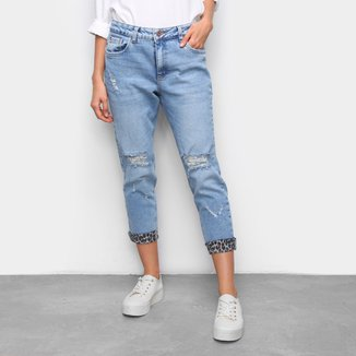 Calça Jeans Malwee Boyfit Rasgada Onça Feminina