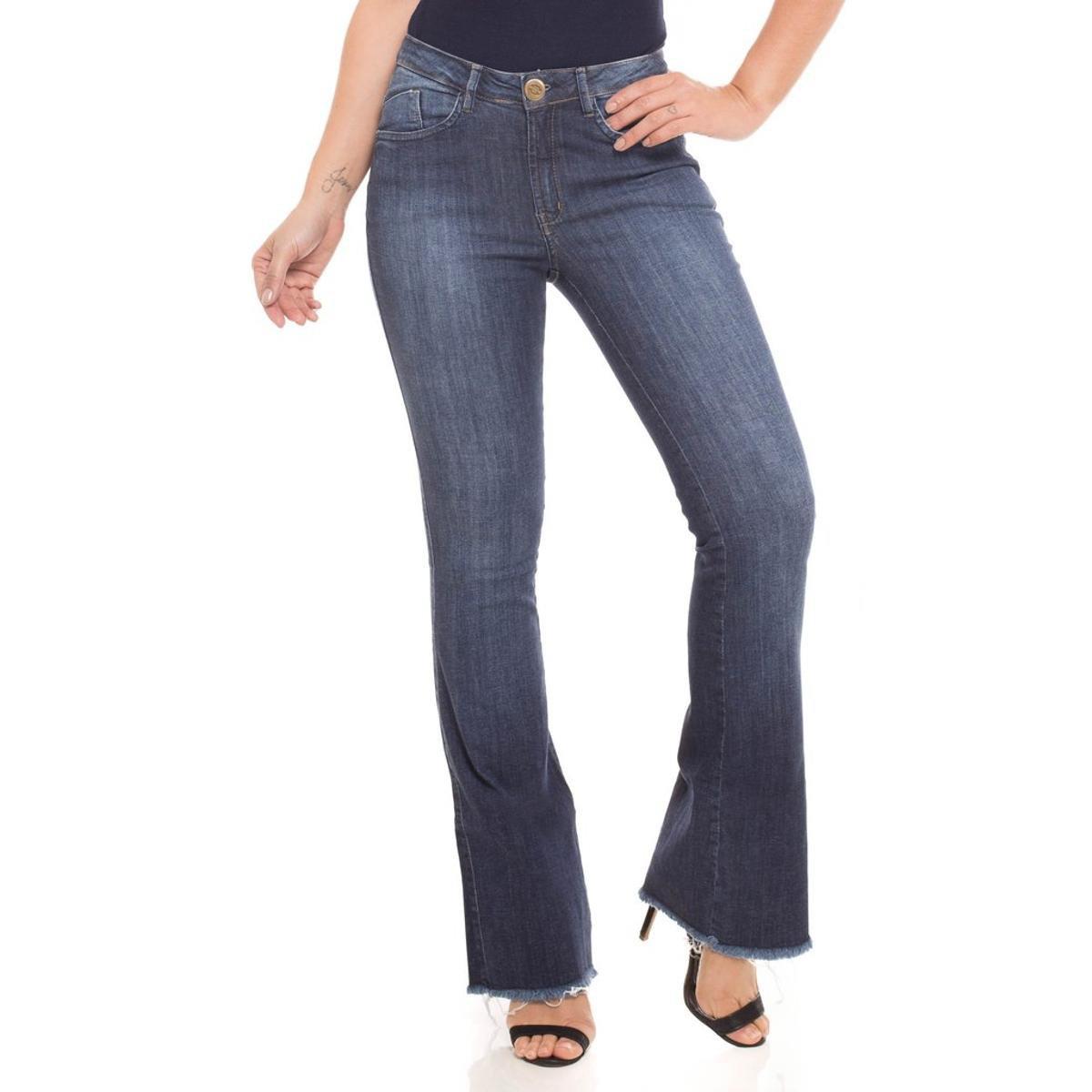 934fd4c53 Calça Jeans Mid Rise Flare Low Denúncia Feminina - Compre Agora ...