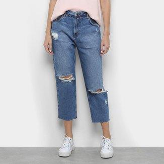 Calça Jeans Mob Boyfriend Rasgada Feminina