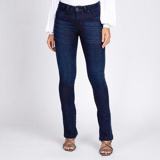 Calça Jeans Moletom Reta Azul Escuro