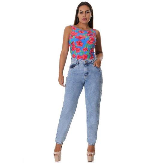 Calça jeans mom - 266143 Feminina - Azul