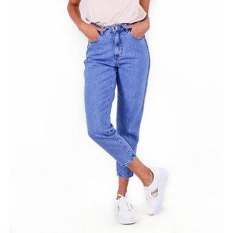 Calça Jeans Mom Aplicação Lateral Pop Me Feminina