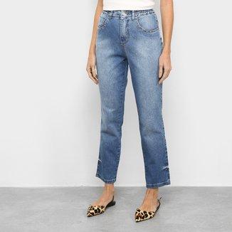 Calça Jeans Mom Biotipo Barra Virada Cintura Média Feminina