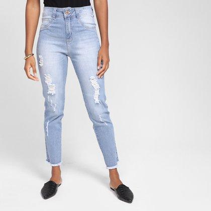 Calça Jeans Mom Biotipo Puídos Barra Desfiada Feminina
