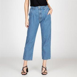 Calça Jeans Mom Com Pregas Delavê Bloom Feminina