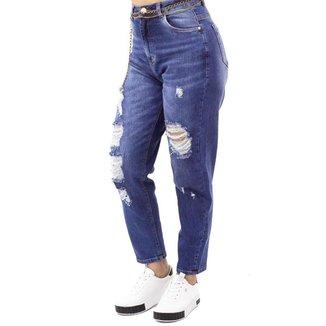 Calça Jeans Mom Destroyed com Cinto Sol Jeans