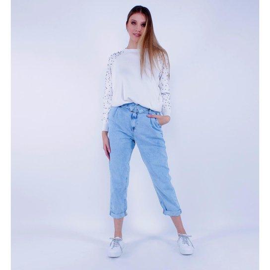 Calça Jeans Mom Dobra Pop Me Feminina - Azul