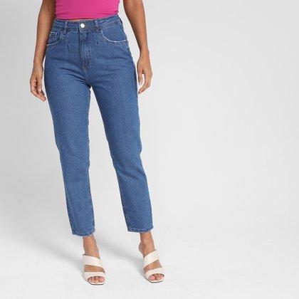 Calça Jeans Mom Dzarm Cintura Alta Feminina