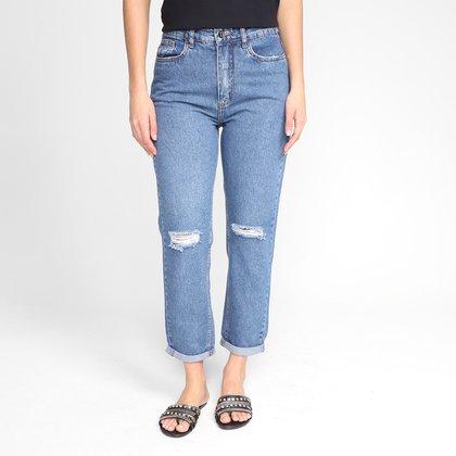 Calça Jeans Mom Dzarm Destroyed Cintura Alta Feminina