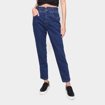 Calça Jeans Mom Dzarm Em Moletom Denin Cintura Alta Feminina