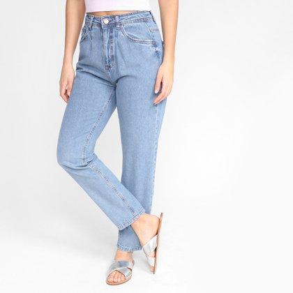 Calça Jeans Mom Dzarm Lisa Cintura Alta Feminina