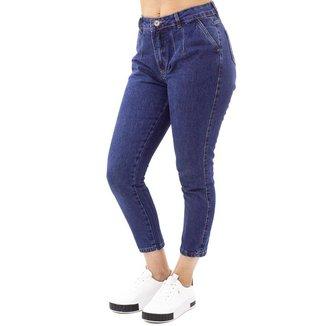 Calça Jeans MOM Feminina Cintura Alta No Alcance Escura