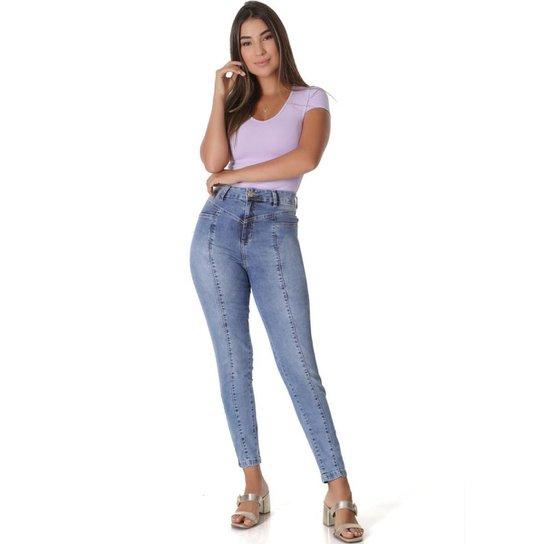 Calça Jeans  Mom     Feminina - Azul