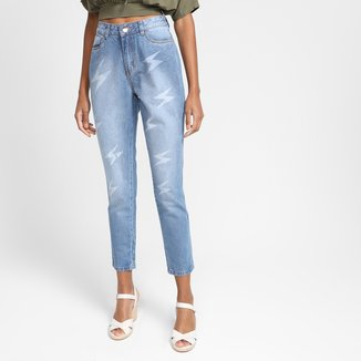 Calça Jeans Mom Grifle Cintura Alta Feminina
