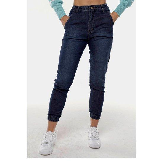 Calça Jeans Mom Jogger Sob Com Elastano Feminina - Azul Escuro