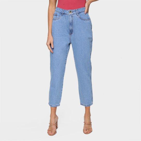 Calça Jeans Mom Lança Perfume Feminina - Azul
