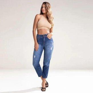 Calça Jeans Mom Midi Feminina Biotipo Escura Casual