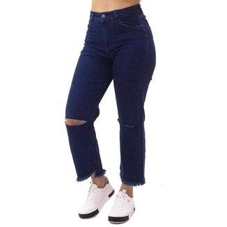 Calça Jeans Mom Pantacourt Feminina Suez