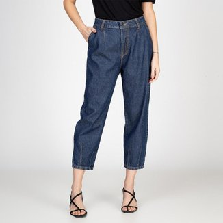 Calça Jeans Mom Recortes Escura Bloom Feminina