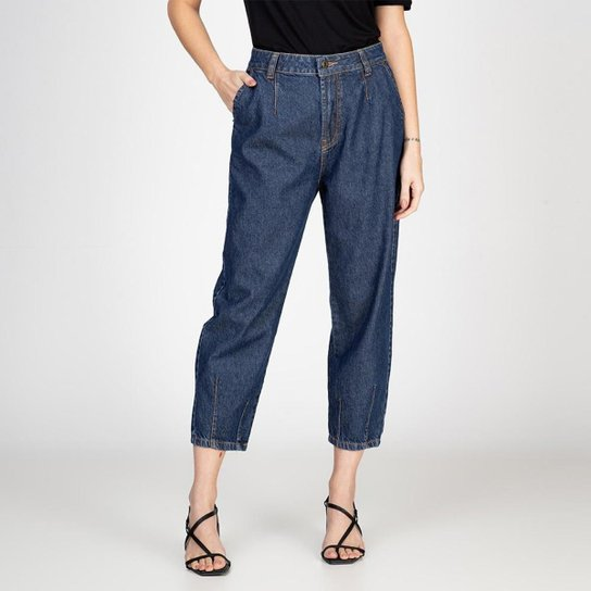 Calça Jeans Mom Recortes Escura Bloom Feminina - Azul Escuro