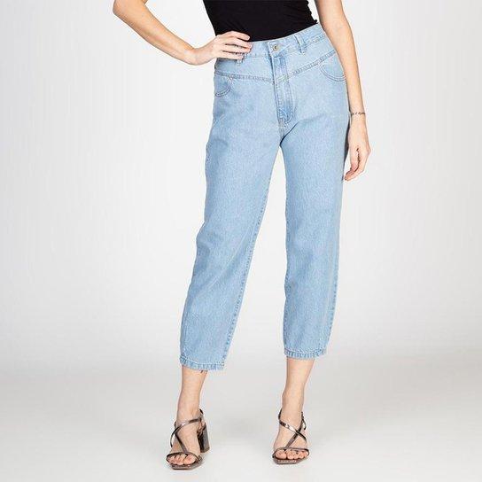Calça Jeans Mom Recortes Frontais Delavê Bloom Feminina - Azul Claro