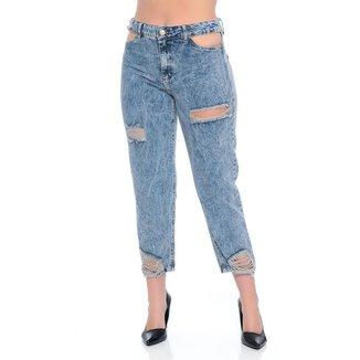 Calça Jeans Mom Vazada Emporio Alex