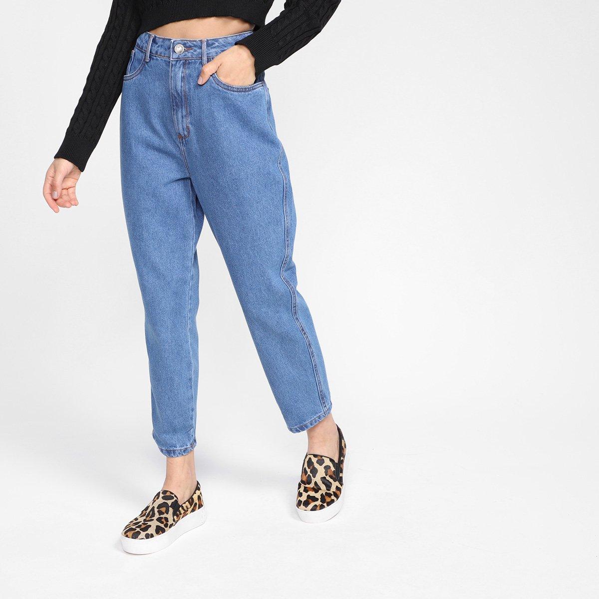 Calça Jeans My Favorite Things Mom Cintura Alta Feminino - Azul
