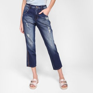 Calça Jeans Oh, Boy! Detalhe Lateral Cintura Alta Feminina