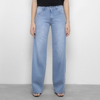 Calça Jeans Pantalona Biotipo Botões Laterais Feminina