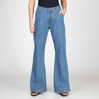 Calça Jeans Pantalona Com Recorte Bloom Feminina