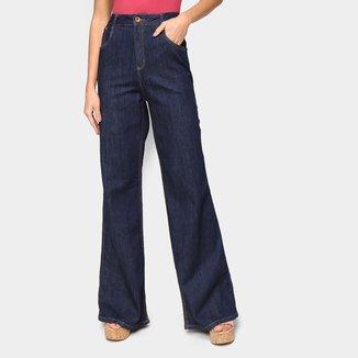 Calça Jeans Pantalona Lança Perfume Feminina