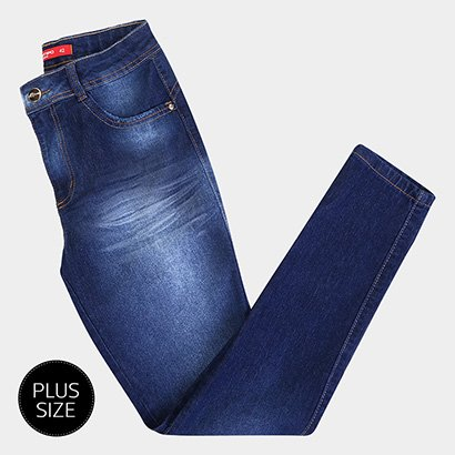 Calça Jeans Plus Size Biotipo Alice Skinny Cintura Alta Bigode Feminina-Feminino