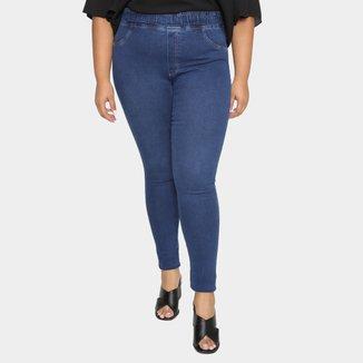 Calça Jeans Plus Size Cambos Jegging Básica Feminina