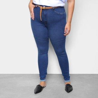 Calça Jeans Plus Size Cambos Skinny Cropped Cinto Feminina