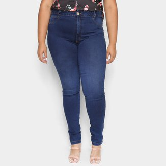 Calça Jeans Plus Size Cambos Skinny Elástico Interno Feminina