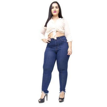 43847be0fb Calça Jeans Plus Size Cambos Skinny Nervura Derlane Feminina - Azul -  Compre Agora