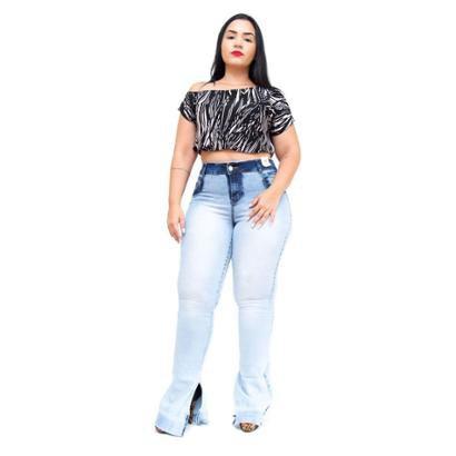 Calça Jeans Plus Size Credencial Flare Manchada Kayte Feminina-Feminino