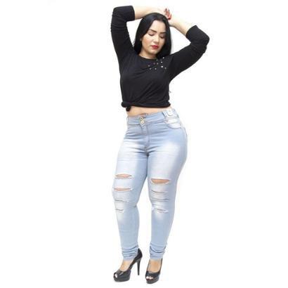 Calça Jeans Plus Size Credencial Rasgadinha Skinny Lahara Feminina-Feminino