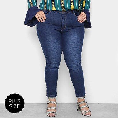 Calça Jeans Plus Size Razon Skinny Abertura Lateral Feminina-Feminino