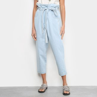 Calça Jeans Prega Light Blue Pantacourt Feminina