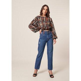 Calça Jeans Reta Detalhe Tinturado Destroyer   Feminina