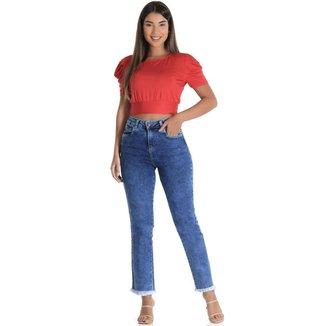 Calça jeans  reta Sawary feminina