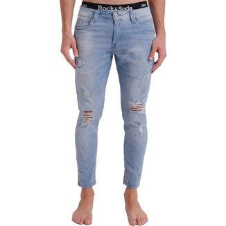 Calça Jeans Rock&Soda Masculina Destroyed Skinny Dia a Dia