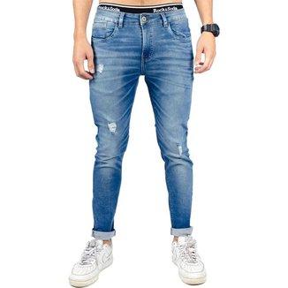 Calça Jeans Rock&Soda Masculina Skinny Destroyed Casual